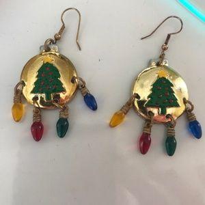 Christmas Tree Earrings Dangle Bulbs Handmade VTG